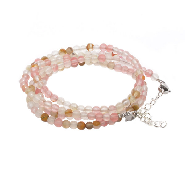 RAINBOW Lady's Girl's Natural Gemstone Beads Bracelet 4 Rows 5 mm BR Tourmaline Watermelon Frosten
