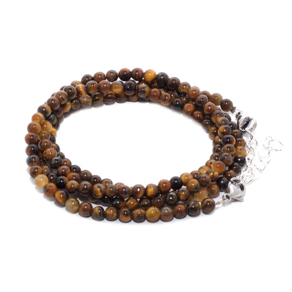RAINBOW Lady's Girl's Natural Gemstone Beads Bracelet 4 Rows 5 mm BR Tiger Eye