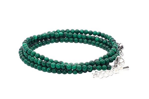 RAINBOW Lady's Girl's Natural Gemstone Beads Bracelet 4 Rows 5 mm BR Malachite