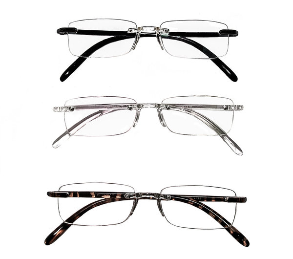 Rainbow 3 Pairs Ultra Light Reading Glasses Anti-Reflective Lenses Helium (+100 to +2.50)